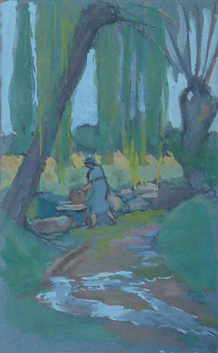 Femme lavant le linge à la rivière